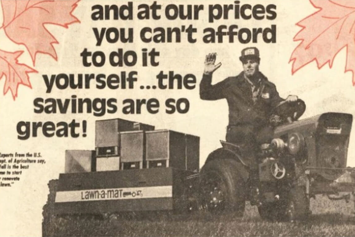 old advertisement for a lawn-a-mat machine