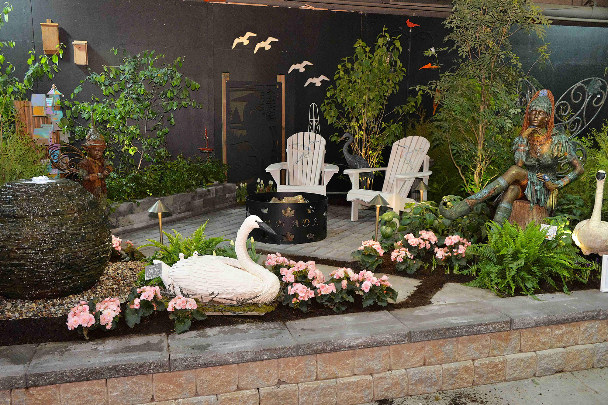 pation garden with muskoka chairs